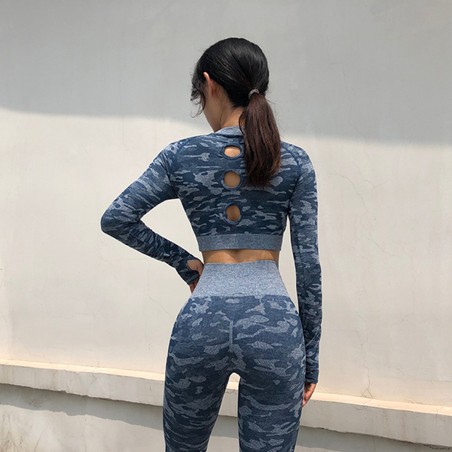 Camouflage Women Gym Shirts Sports Yoga Seamless Crop Tops Camo Fitness Compression Tights Shirt Clothing Workout Sportswear