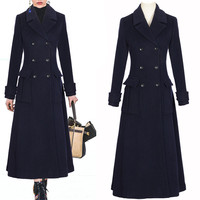 HIGH QUALITY New Stylish 2019 Designer Wool Coat Women's Double Breasted Lapel Pure Elegant Blue Long Coat Female Outerwear 1144
