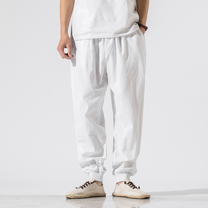 Men Cotton Linen Casual Harem Pants Joggers Man Summer White Trousers Male Chinese Style Baggy Pants 2020 New Y2568
