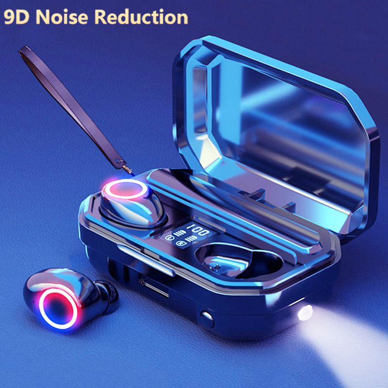 lowest price 2000mAh LED Wireless Headphones Bluetooth Earphones V5 1 Earbuds TWS Touch Control Sport Headset Noise Cancel Earphone Headphone