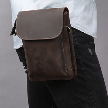 Male Crazy Horse Leather Waist Pack Men Phone Pouch Bags Boy Travel Waist Bag Men's Small chest Shoulder Belt Bag back pack brand hand made genuine crazy horse leather small cross body shoulder bag men s messenger bags male waist belt pack for travel
