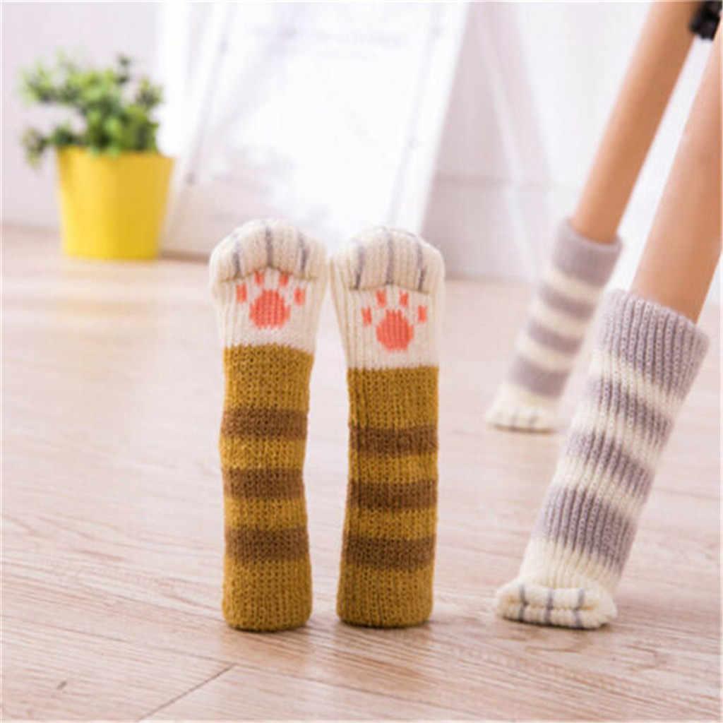 4 Uds gatito Pata de Gato tejido Protector de suelo pata de silla y mesa pies almohadillas cubierta decoración sillas protectoras alfombras de alta calidad