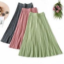 Wasteheart Autumn Winter Green Women Fashion Sexy Skirt High Waist Mid-calf Knitting Long Skirts Office A-Line