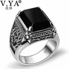 V. YA 925 srebrny pierścień dla mężczyzn kobieta grawerowane czarny cyrkon moda Sterling Thai srebrny pierścień biżuteria