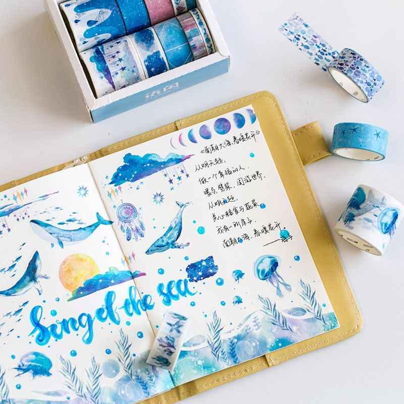 10 Pcs/set Laut Bintang Wisteria Bunga Kertas Lucu Masking Washi Tape Set Alat-alat Tulis Jepang Kawaii Scrapbooking Perlengkapan Stiker