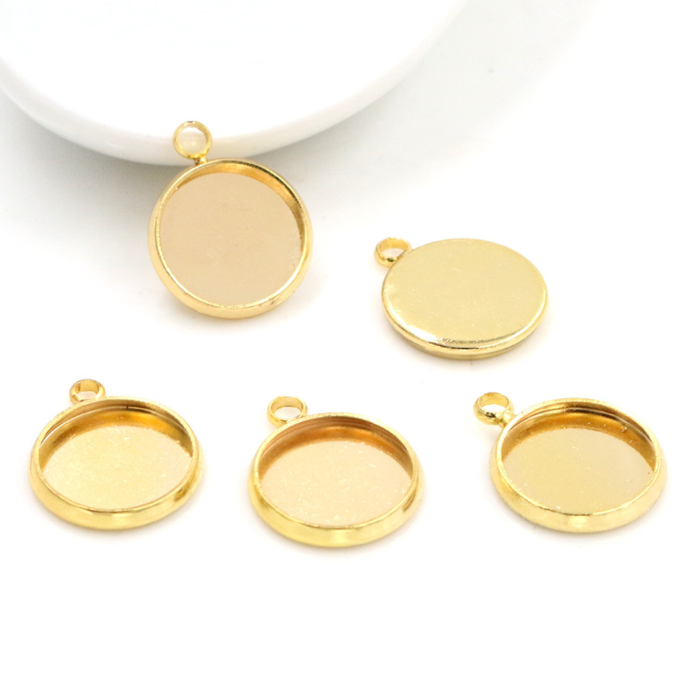 20pcs 12mm Inner Size Gold Color Plated Brass Material Simple Style Cabochon Base Cameo Setting Charms Pendant Tray (A2-44)