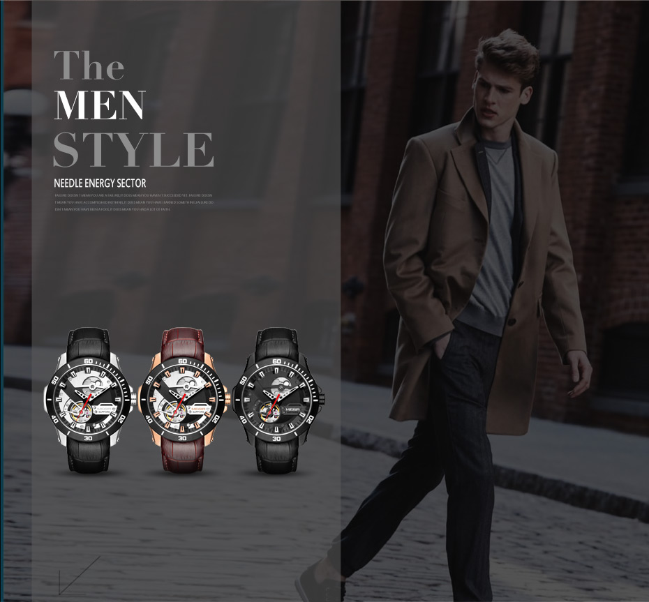 He795f1b629384406a65544b356593ed6s MEGIR Men Mechanical Wristwatches Leather Strap Automatic Mechanical