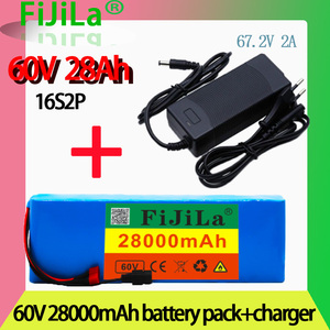 2021 Новый 60V16S2P 20Ah 18650 литий-ионный аккумулятор 67,2 V 20000mAh Ebike Электрический велосипед Скутер с BMS 1000 Вт Разъем + зарядное устройство