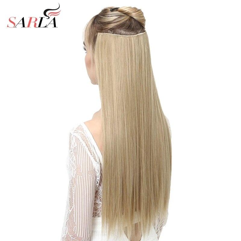 Накладные волосы на клипсе Омбре Bayalage, длинные прямые шиньоны для женщин, 24 дюйма, 5 клипсов, синтетический слитный наконечник 3/4, 66