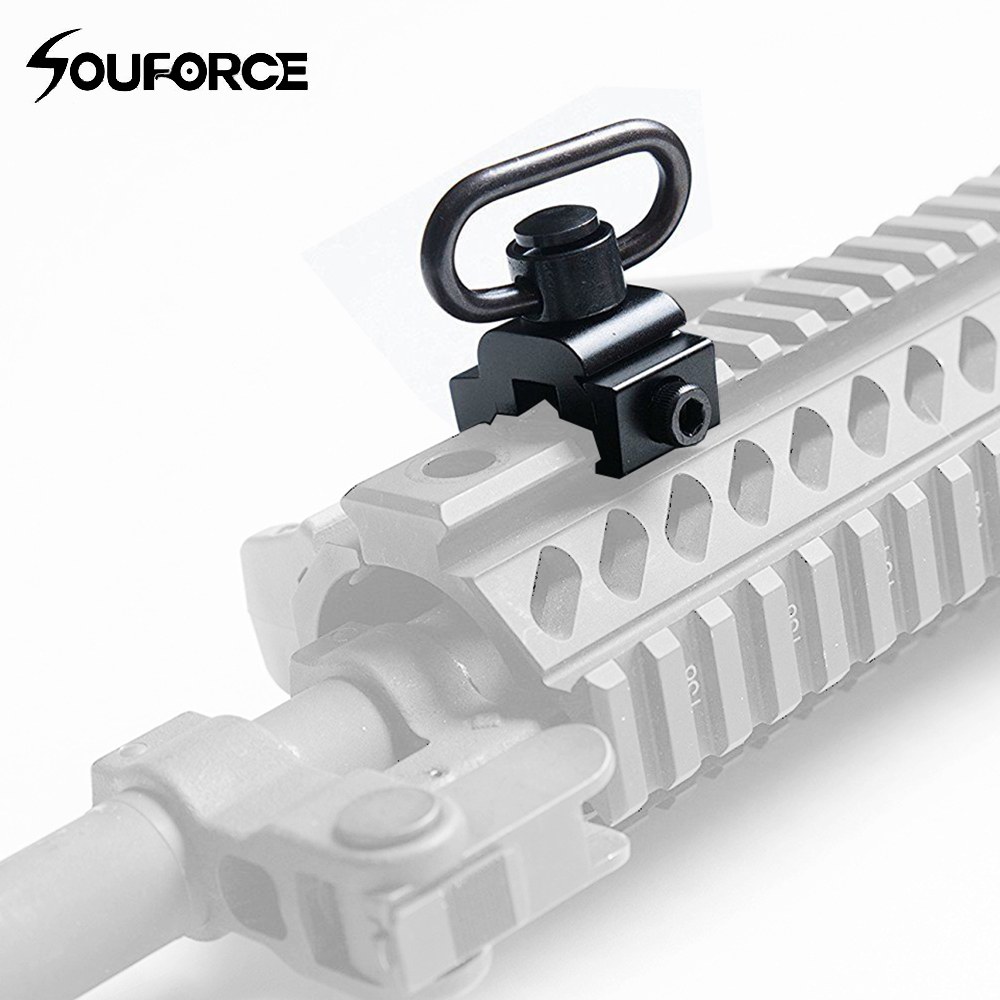 QD Detachable Adapter Heavy Duty Push Button Sling Swivel With Base Fit On 20mm Weaver Rails For Hunting