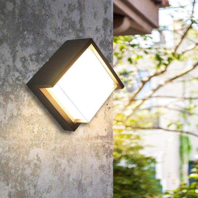 Современный минималистичный настенный светильник наружная квадратная светодиодная влагостойкая лампа Водонепроницаемая балкон коридор ...,