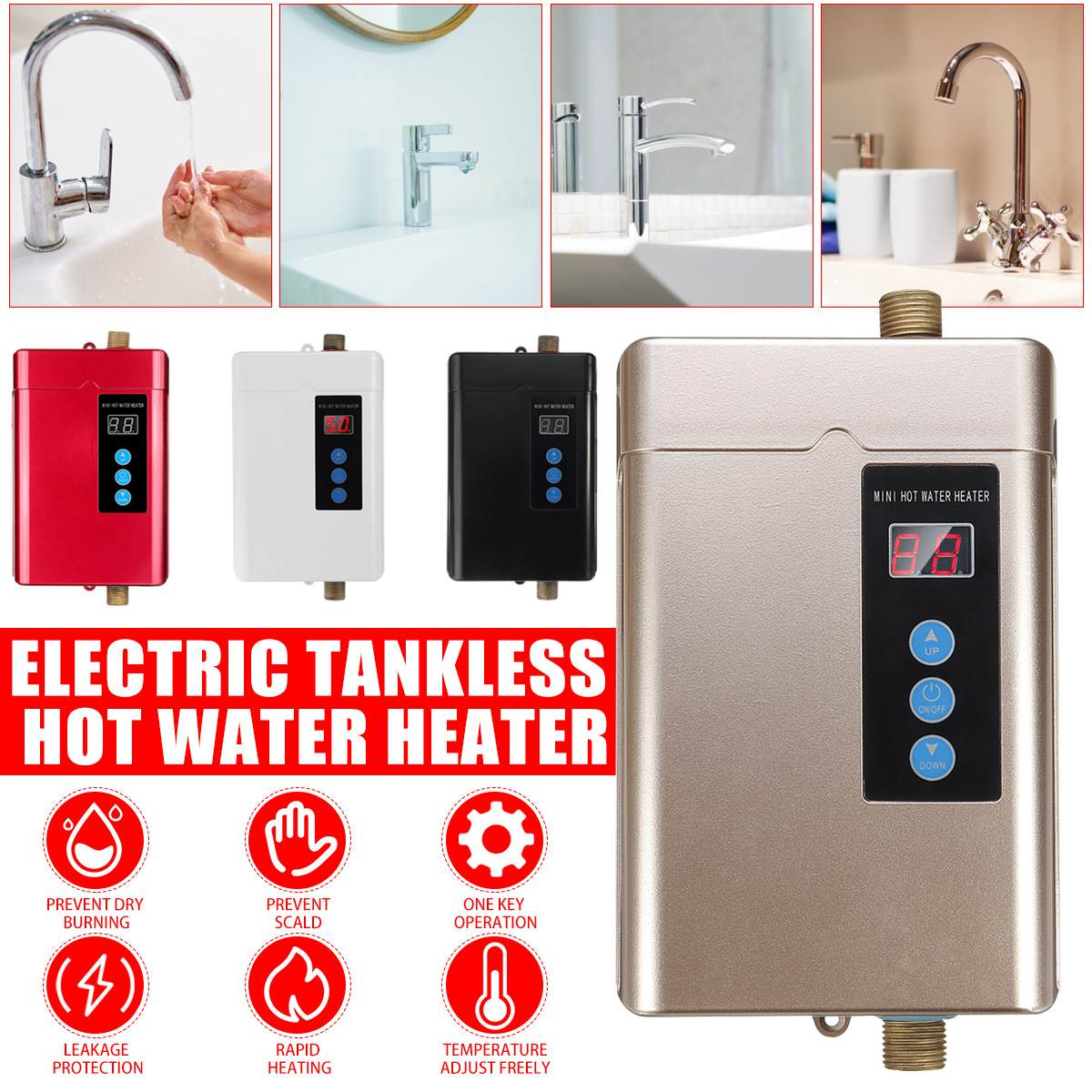 Bathroom 4000W Instant-Tankless Electric Water Heater Instantaneous Instant-Electric Water Heating Fast 3 Seconds Hot Shower