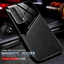 Pc Lederen Textuur Auto Magentic Houder Telefoon Cover Voor Huawei P Smart 2021 Ppa lx2 6.67 Zachte Siliconen Bumper Shockproof coque
