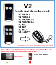 V2 PHOENIX 2, 2 Universal Remote Control Duplicator 433.92MHz rolling code