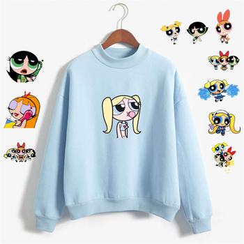Sweet Girls Sweatshirt Kawaii Buttercup Power Puff Harajuku Women Hoodie Ulzzang Korean Style Cartoon Print Girls Sweatshirt Win