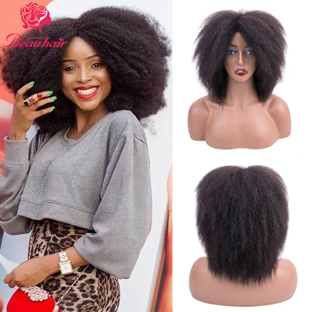 Brazilian Human Hair Wigs Yaki Straight Human Hair Wigs For Black Women Kinky Straight Wig Non Remy Human Hair Wigs Beauhair