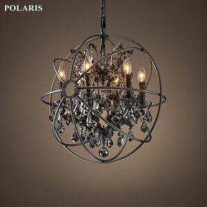 Image 3 - Candelabro de cristal de humo, iluminación Vintage, candelabros de vela negra Orb, luz colgante
