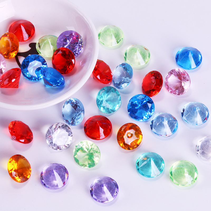 20Pcs Acrylic Plastic Diamond Shape Pawn Pieces For Token Board Games Counter Accessories,10 Colors,diameter 2cm