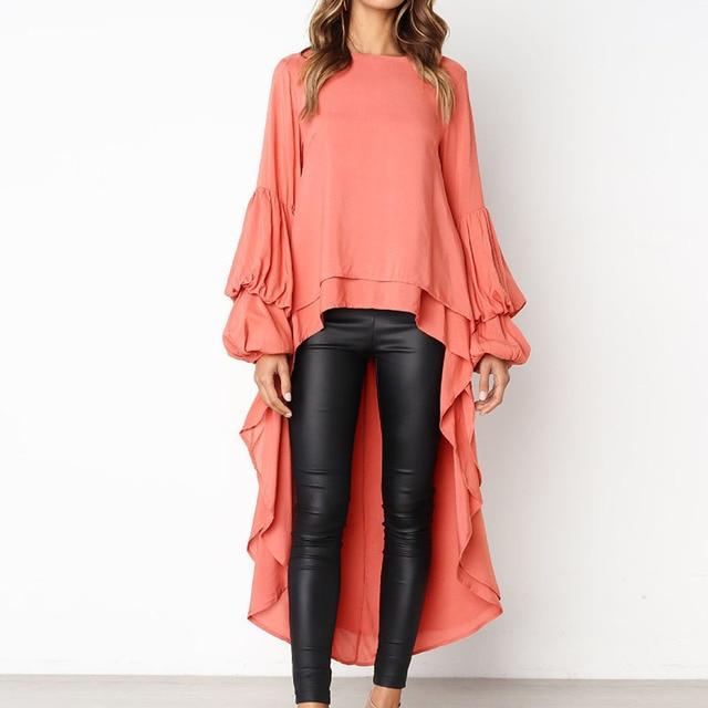 Ruffles Loose Long Sleeve Blouse Women 2019 Autumn Lantern Sleeve Chiffon Casual Shirt Plus Size Womens Blouse 3
