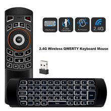 Mini 2.4G Hz Nirkabel QWERTY Keyboard Udara Mouse Handheld Remote Control 6 Gxes Giroskop untuk Windows/MAC OS/ linux/Android TV Box(China)