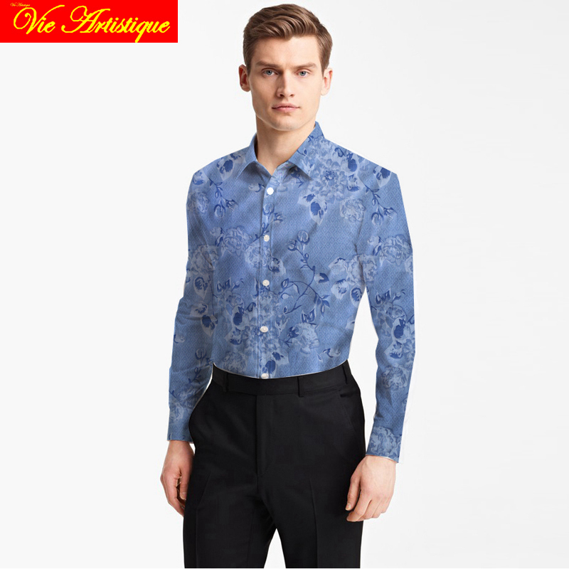 Custom Tailor Made Men's Bespoke Cotton Floral Shirts Business Formal Wedding Ware Blouse Blue Print Faint Jacquard Flower