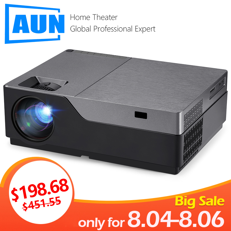 AUN Full HD Projector M18UP, 1920x1080P. Android WIFI Bluetooth LED Mini Projector for 4K Video beamer. AC3 3D Home Cinema smartphone