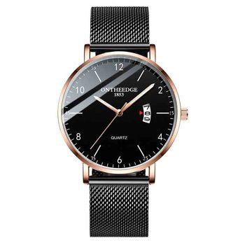 Reloj ultrafino de cuarzo para hombres de negocios de lujo reloj de malla de acero calendario luminoso relojes redondos impermeables reloj de pulsera de Metal Casual