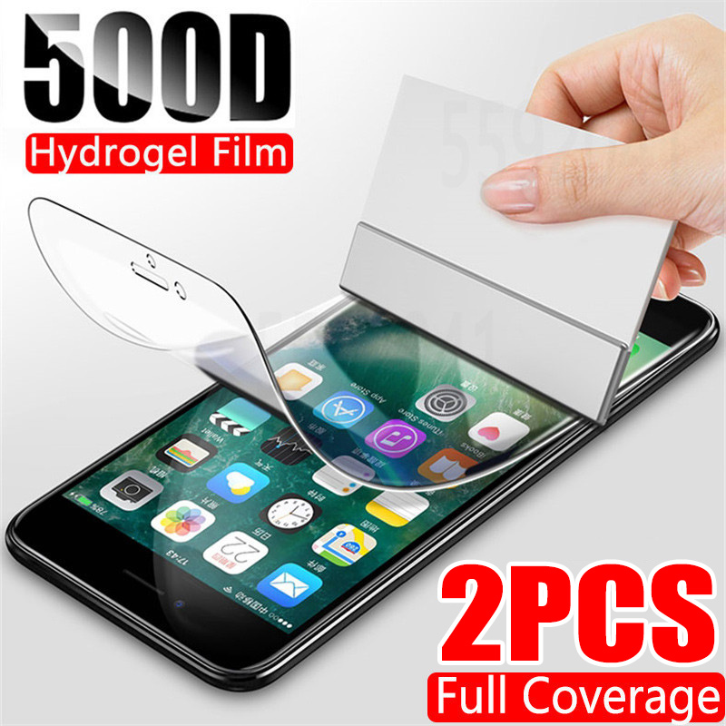 2Pcs 500D Hydrogel Film Screen Protector For iPhone 7 8 Plus 6 6s SE 2 Soft Protective Film On iPhone 11 X XR XS Max 11 Pro Max 1
