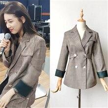 2018 Korean style striped chic plaid small suit retro long-sleeve joker jacket female
