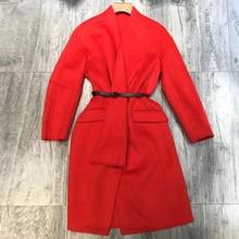 Vestido de fiesta rojo tejido para mujer 2019 Otoño Invierno cuello en V elegante gasa de manga larga vestido de mujer