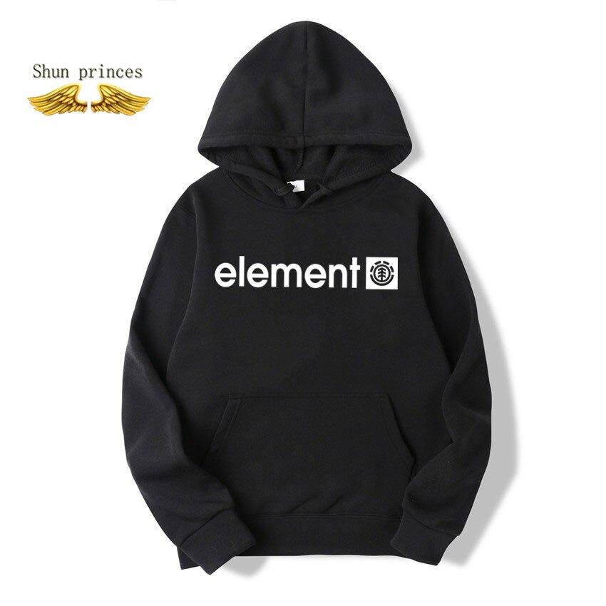 Shun Princes Store New Autumn Winter Brand Mens Hoodies Sweatshirts Men ELEMENT Letter Printing Long Sleeve Fashion Mens Hoodies