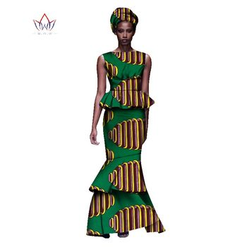 2020 New African Dresses For Women Dashiki Ladies Clothes Ankara O-Neck Africa Clothes Two Pieces Set Natural 6xl None WY1054 - 6, M