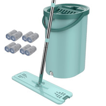 Drop Shipping Magic Microfiber Cleaning Mops Platte Squeeze Magic Automatische Home Kitchen Floor Cleaner Gratis Hand Mop Met Emmer(China)