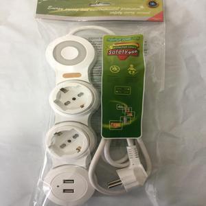 Универсальная Розетка Schuko, удлинитель с USB зарядкой, с переключателем, несколько розеток, кабель 1,8 м