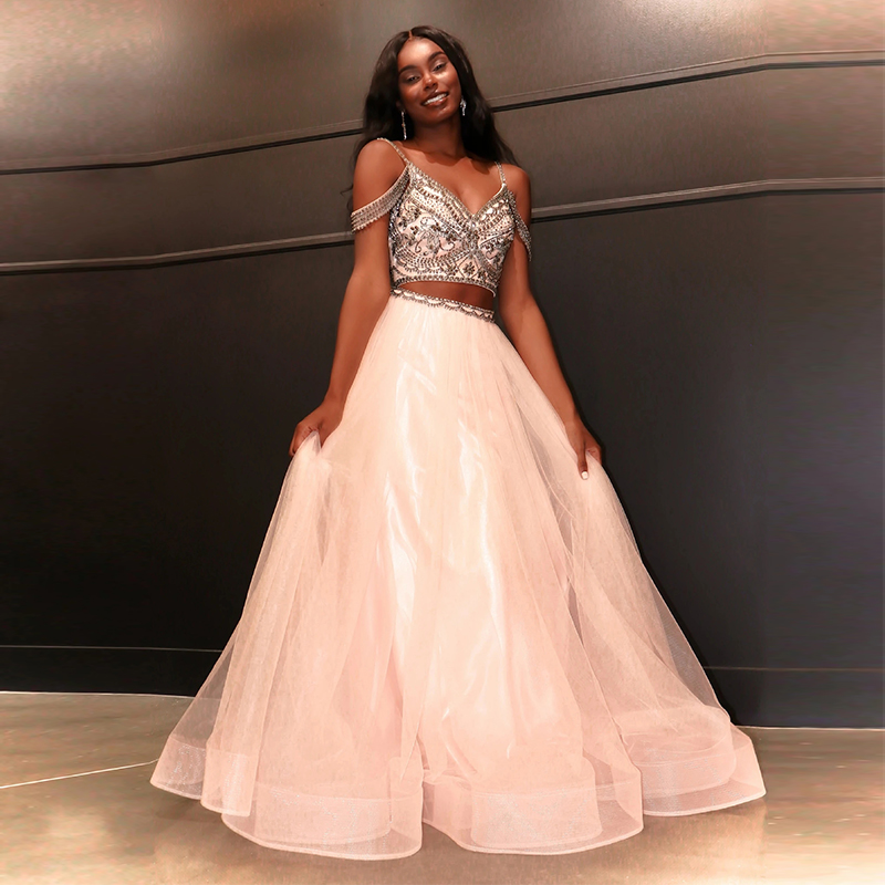 Two Piece Prom Dresses V-Neck Beaded with Rhinestones A-Line Tulle Spaghetti Strap Custom Made Crystal Party Gown for Graduation