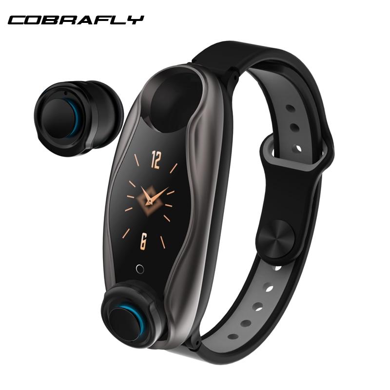 Cobrafly T90 bande intelligente TWS Bluetooth écouteur 2 en 1 BT 5.0 hommes femmes montre intelligente Android IOS BT appel Siri Bracelet de précision