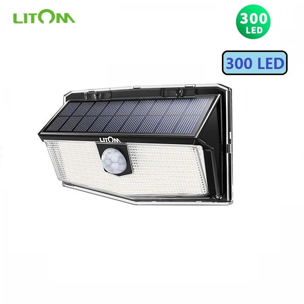 Newest LITOM 300 LED Solar Lights Garden Lights IP67 Waterproof PIR Motion Sensor Lights 3 Intelligent Modes 2020 Garden Lamp