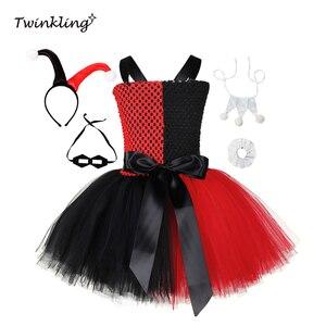 Harley Quinn/платье-пачка для девочек, отряд самоубийц, красное, черное платье, костюм клоуна на карнавал, Хэллоуин, костюм клоуна для косплея, дет...