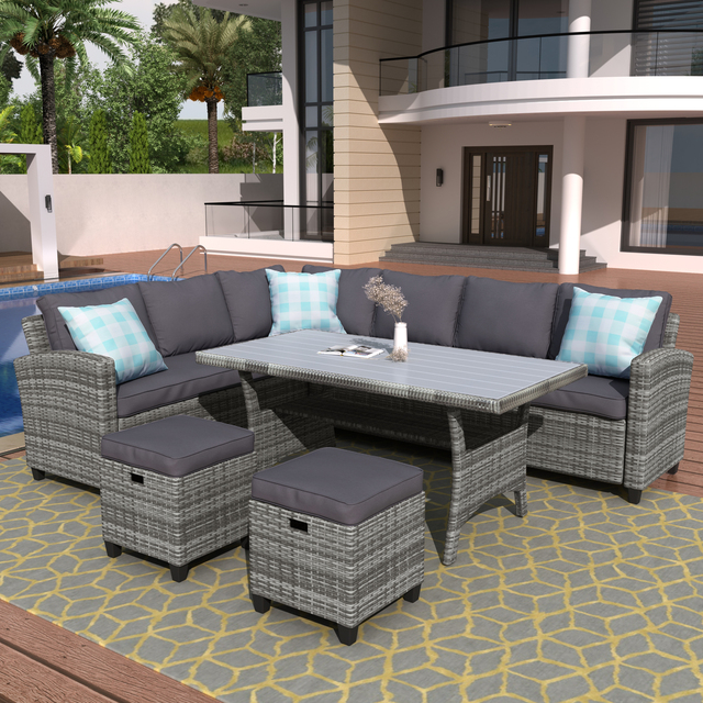 5 Pieces Outdoor Furniture Rattan Chair & Table Patio Set  2