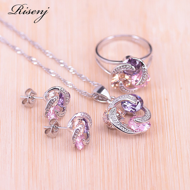 Risenj Big Discount Colorful Lucky Circle Silver Color Jewelry Set For Women Earrings Ring Necklace Drop Shipping T28 2