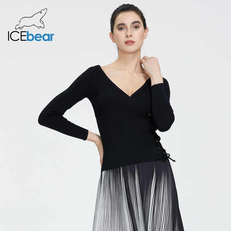 Icebear 2020 봄 v 넥 니트 탑 패션 사이드 붕대 스웨터 여성 AW-065