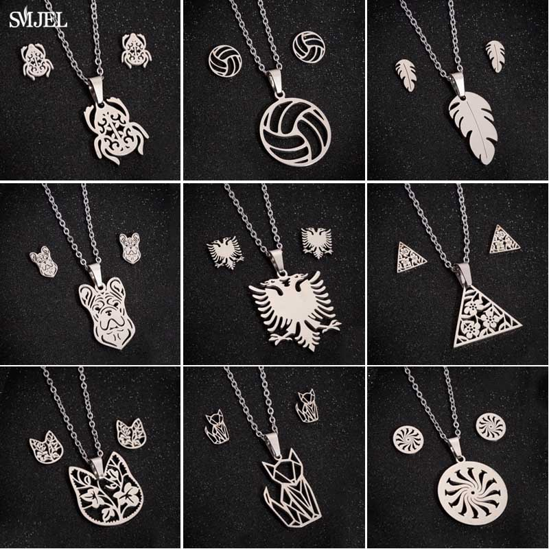 SMJEL Minimalist Stainless Steel Jewelry Set Novel Eagle Beetle Cat Earrings Necklaces Mama Kids jewellery for Girls Dropshiping