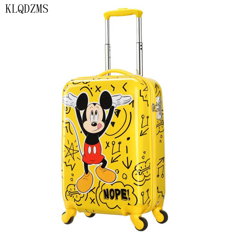 KLQDZMS  Cartoon Mouse 20Inch Rolling Luggage Spinner Brand Travel Suitcase On Wheels Unisex Luggage