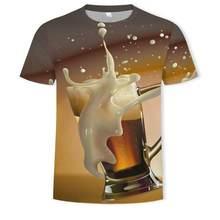 Camiseta de manga curta masculina/camiseta feminina camiseta estampada nova 3d cerveja/hamburger/poker hip-hop o-pescoo
