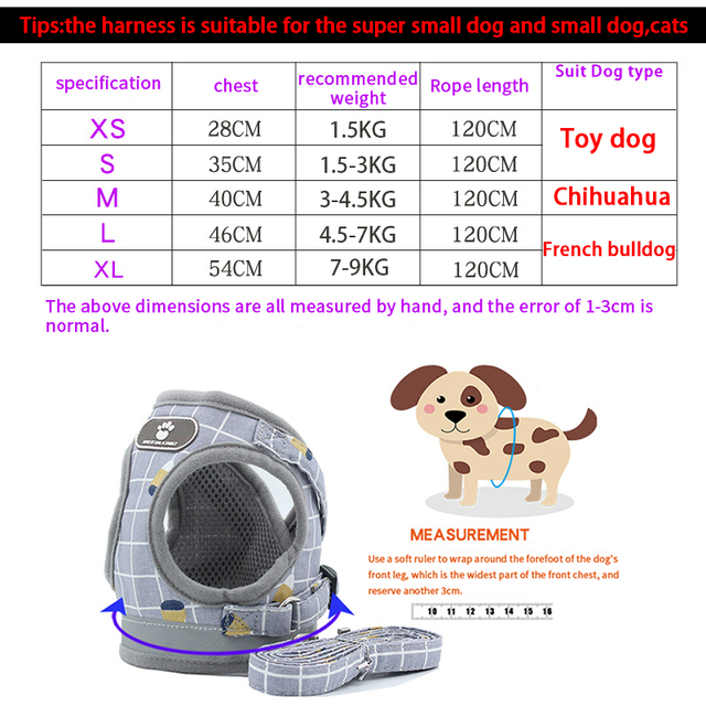 Reflective Dog Cat Harness Adjustable Vest Walking Soft Mesh Breathable Pet Collar Traction Leash Set for Dog Pet Supplies 6