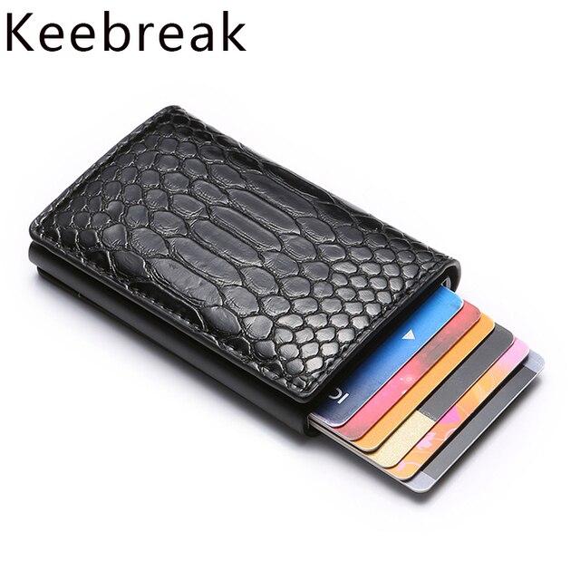 Rfid Blocking Credit Card Holder Wallet Men Bank Business id Cardholder Metal Case Protector Minimalist Slim Creditcard Bag Mini