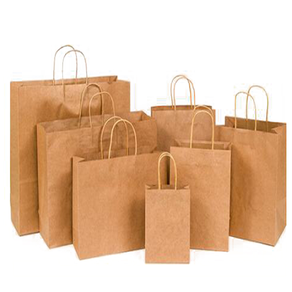 Brown Twist Handle Paper Party Gift Carrier Environmental Clothing Shopping Bag Paper Shopping Bags Yellow Cheap Bags