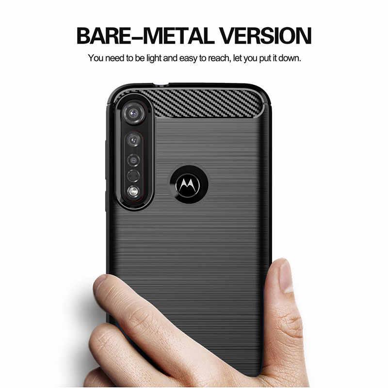 Ốp Lưng Sợi Carbon Cho Moto G8 Plus G7 G6 Chơi G5 G5S Ốp Lưng Moto Một Zoom Hành Động Vĩ Mô Tầm Nhìn Điện x4 Bao Da Silicone Mềm Trường Hợp