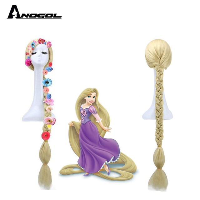 Anogol Tangled Princess Rapunzel Long Straight Braided Blonde Synthetic Hair Six Flowers Cosplay Costume  Wigs For Halloween