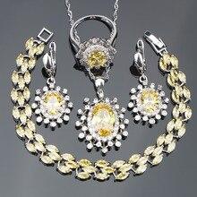 Femmes jaune Zircon 925 argent Costume bijoux de mariée ensembles boucles doreilles/collier/anneaux ensemble avec des pierres bijoux boîte de noël